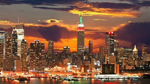 Manhattan skyline, leiebil i New York