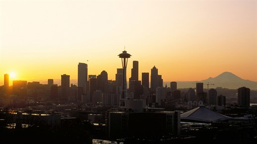 Seattle skyline, leiebil i Seattle
